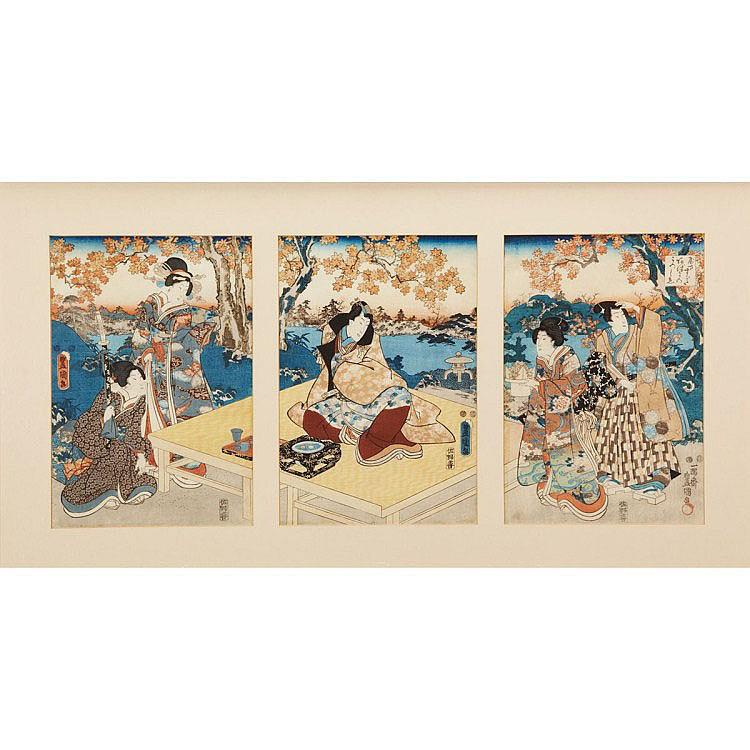 Toyokuni TRIPTYCH WITH NOBLES, Oban triptych.