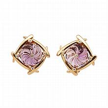Pair Of 14k Yellow Gold Earrings, each set with a circular carved amethyst and 5 small brilliant cut diamonds