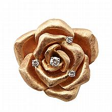 14k Yellow Gold Brooch/Pendant, realistically formed as a rose and set with 4 brilliant cut diamonds (approx. 0.32ct.t.w.)