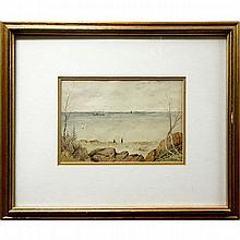 """AARON ALLAN EDSON (CANADIAN, 1846-1888), BEACH SCENE, WATERCOLOUR; SIGNED LOWER RIGHT; TITLED TO LABEL VERSO (Sight, 6.3"""" x 9.3"""")"""