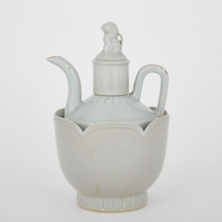 A Porcelain Ewer with Bowl, Song Dynasty or Later, height 9.6