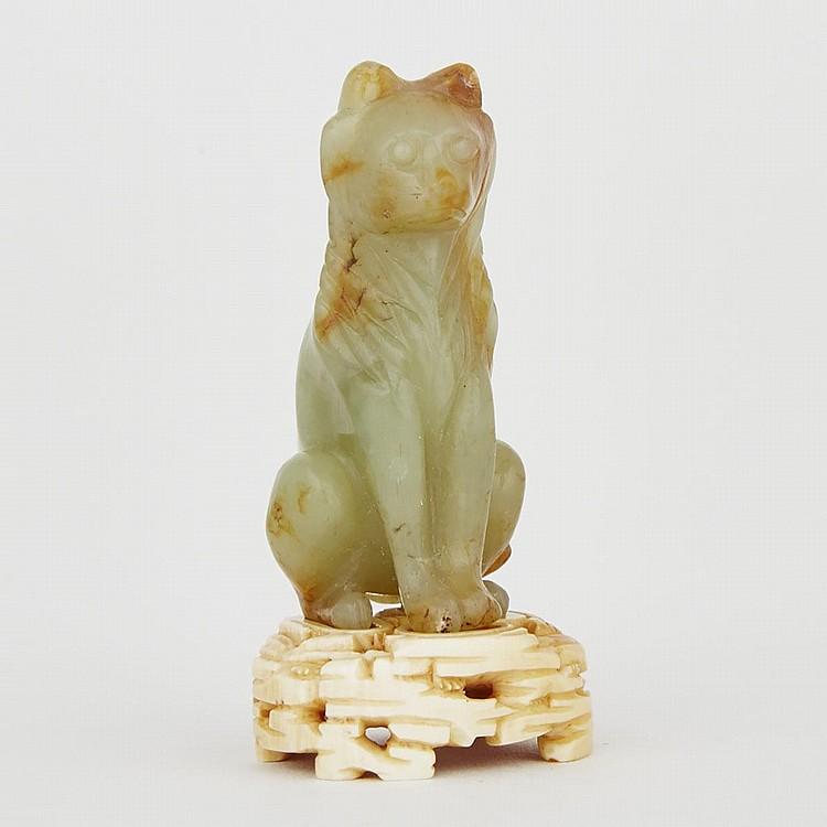 A Japanese Jadeite Cat, Meiji Period, 1.8