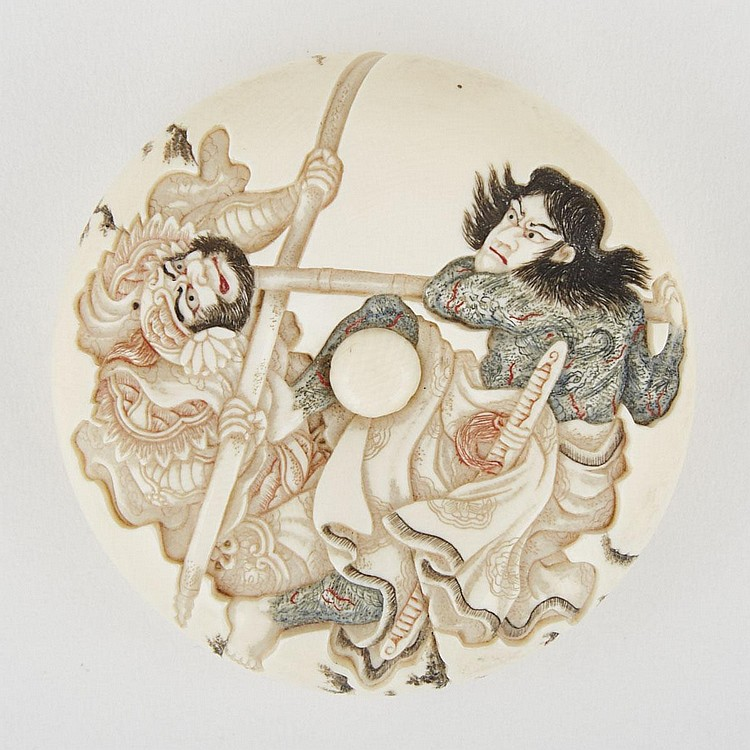 An Ivory Manju Netsuke of Two Warriors, 19th Century, Signed Moritoshi, diameter 2.6