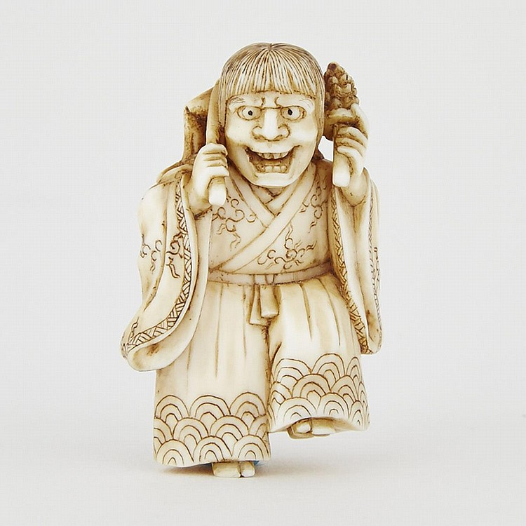 An Ivory Netsuke of Hannya, 19th Century, Signed Hikaku, 1.6