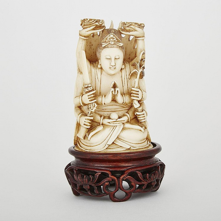 A Japanese Ivory Carving of Thousand-Armed Avalokiteshvara, Early 20th Century, 4.7