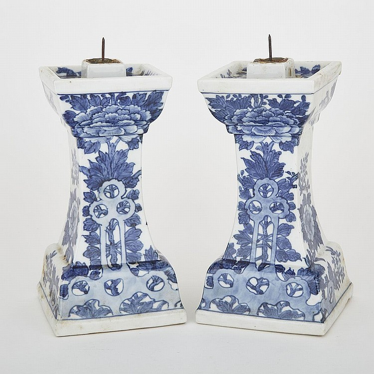 A Pair of Blue and White Candle Sticks, 19th Century, 8.7
