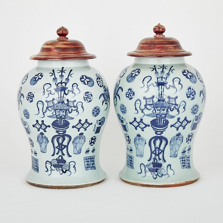 A Pair of Celadon- Ground Blue and White Medallion Jars, Chenghua Mark, 19th Century, height 14.2