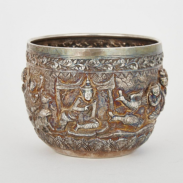 A Thai Silver Repoussé Pot, 19th Century, height 3.4