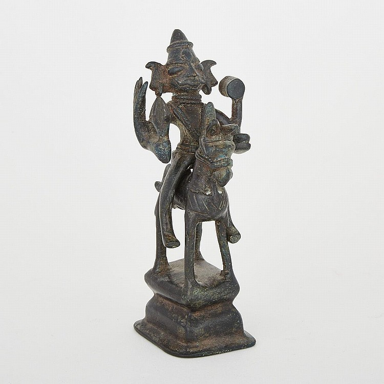 A Bronze Horse and Rider, India, 16th/17th Century, height 5.9