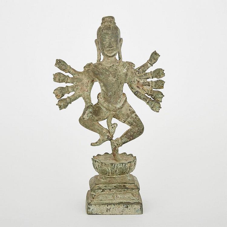 A Burmese Bronze Deity, 18th/19th Century, height 13.9
