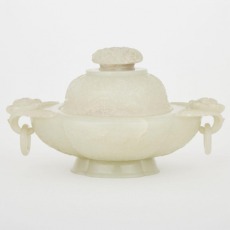 A Chinese Celadon-White Jade Incense Burner, 18th Century, 3.7