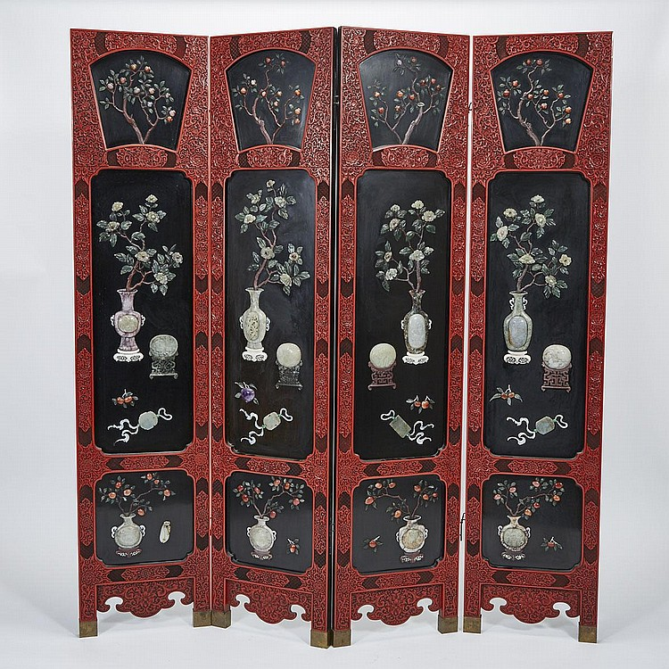 A Cinnabar Lacquered Jade and Hardstone Inlaid Four- Panel Screen, Early 20th Century, JADES AND HARDSTONES 19TH CENTURY AND EARLIER, 72.2
