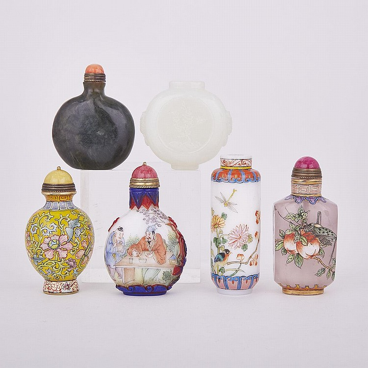 A Group of Six Snuff Bottles, tallest height 3
