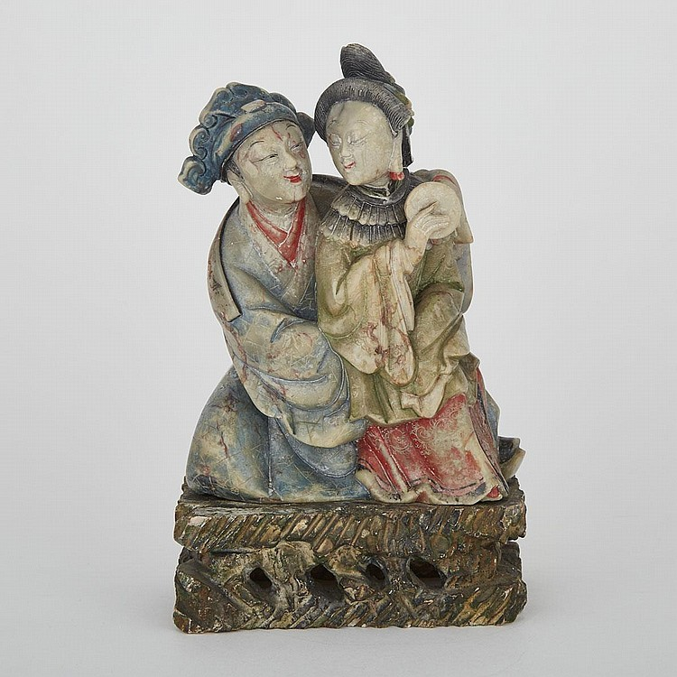 A Shoushan Stone Carving of Chinese Figures, Mid-20th Century, 8.5