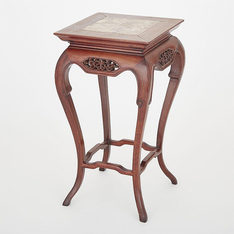 A Huanghuali Planter Stand with Marble Top, 19th/20th Century, height 14.7