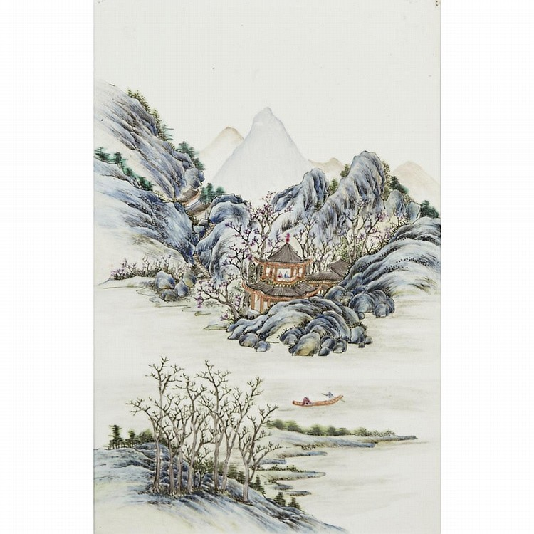 A Famille Rose Landscape Porcelain Panel, Republic Period, 15