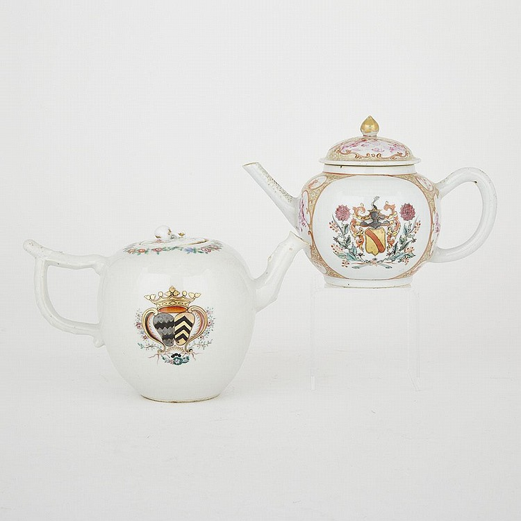 Two Chinese Export Armorial Teapots, 18th Century, largest 5