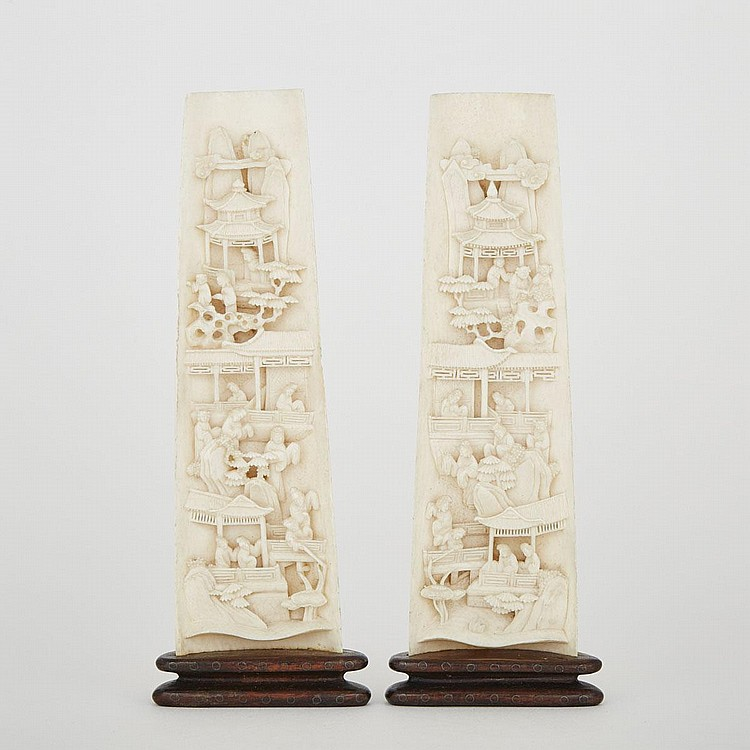 A Pair of Carved Ivory Wrist Rests with Landscapes, Early 20th Century, 7.3