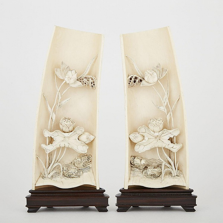 A Pair of Carved Ivory Wrist Rests with Birds, Early 20th Century, without stand 6.9