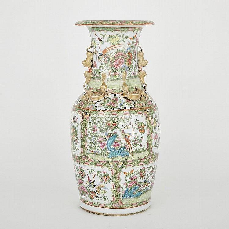 A Large Canton Famille Rose Export Vase, Late 19th Century, 18.1