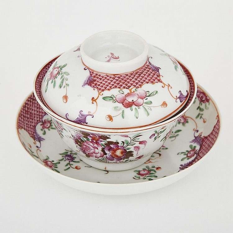 A Chinese Export Famille Rose Lidded Bowl and Saucer, 18th Century, 3.9