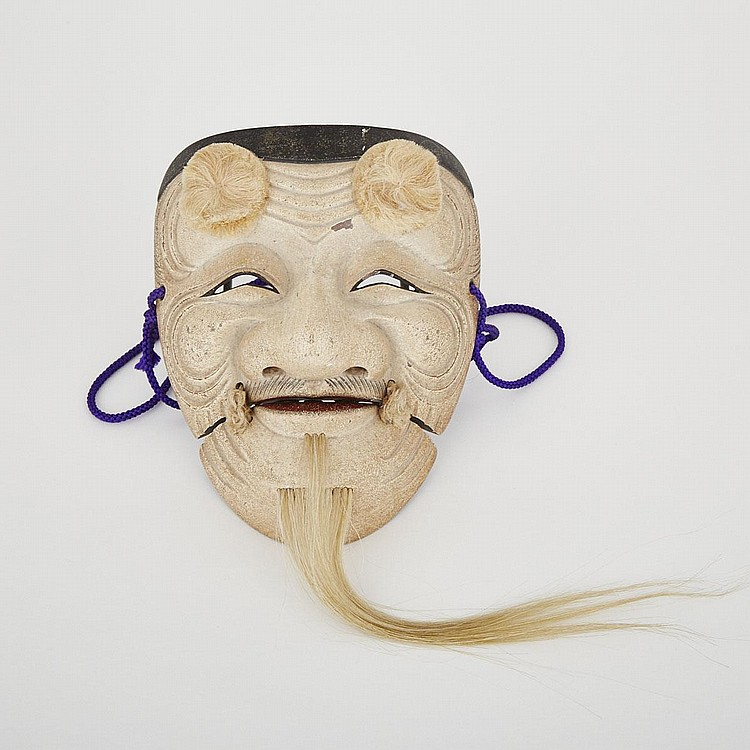 A Noh Mask of Warai-jo by Nagasawa Ujiharu (1912-2003), 20th Century, 6.9