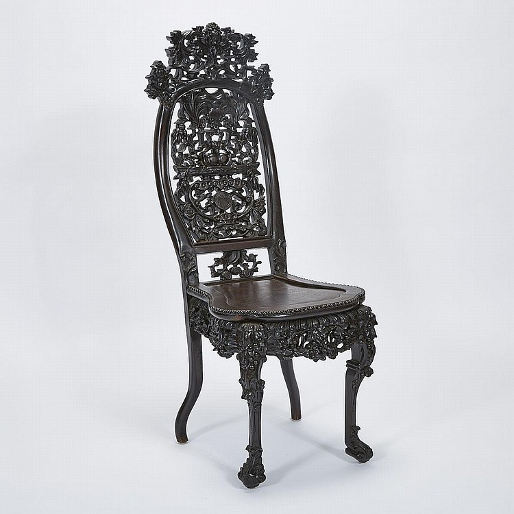 A Chinese Export Rosewood Chair, 19th/20th Century, height 50