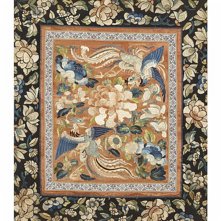 An Embroidered 'Two Phoenix' Panel, 19th Century, 17