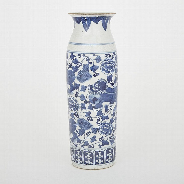 Blue and White Lion Cylinder Vase, 12.2