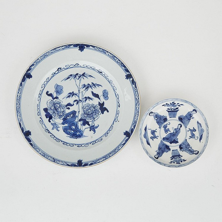 Two Blue and White Chinese Export Plates, 18th Century and Later, largest diameter 9.1