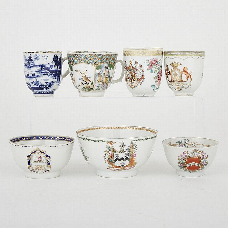 A Group of Seven Chinese Export Cups and Bowls, 18th Century and Later, largest 2.4