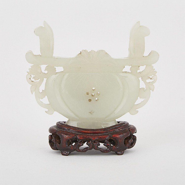 A Finely Carved Celadon-White Jade Flower Basket with Stand, 19th Century, width 2.3