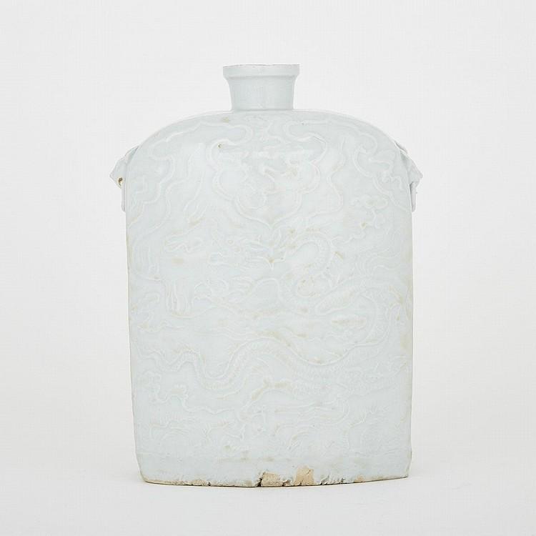 A Yuan Style Qingbai Dragon Vase, height 8.5