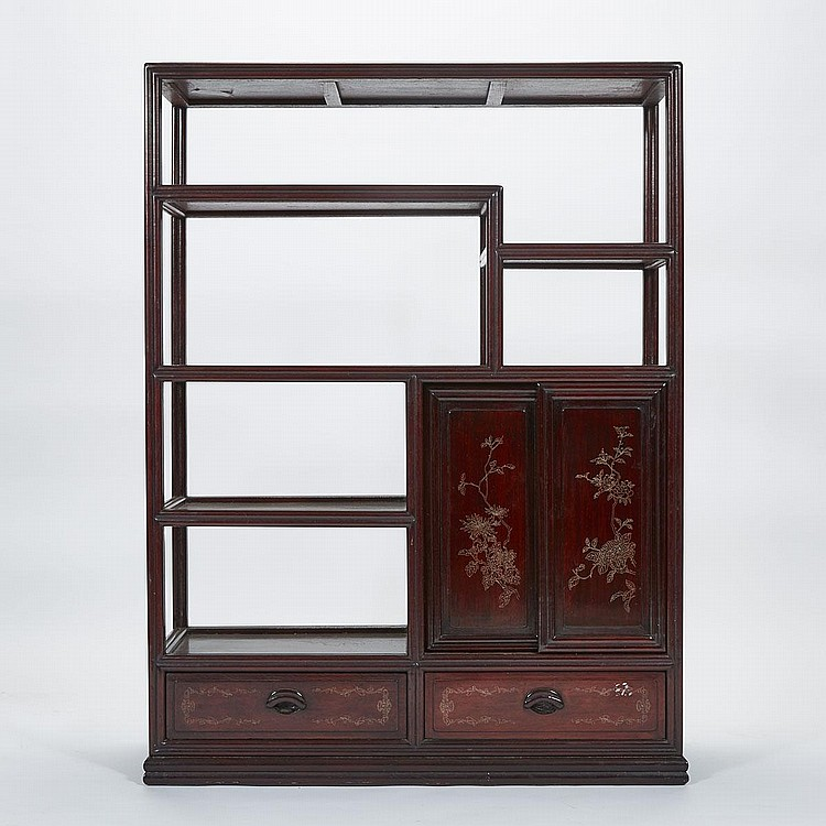 Rosewood Cabinet with Silver Inlays, Early 20th Century, 49.2