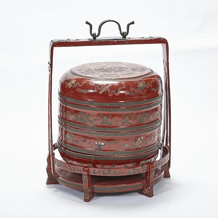 A Lacquer Food Basket, Early 20th Century, height 22.6