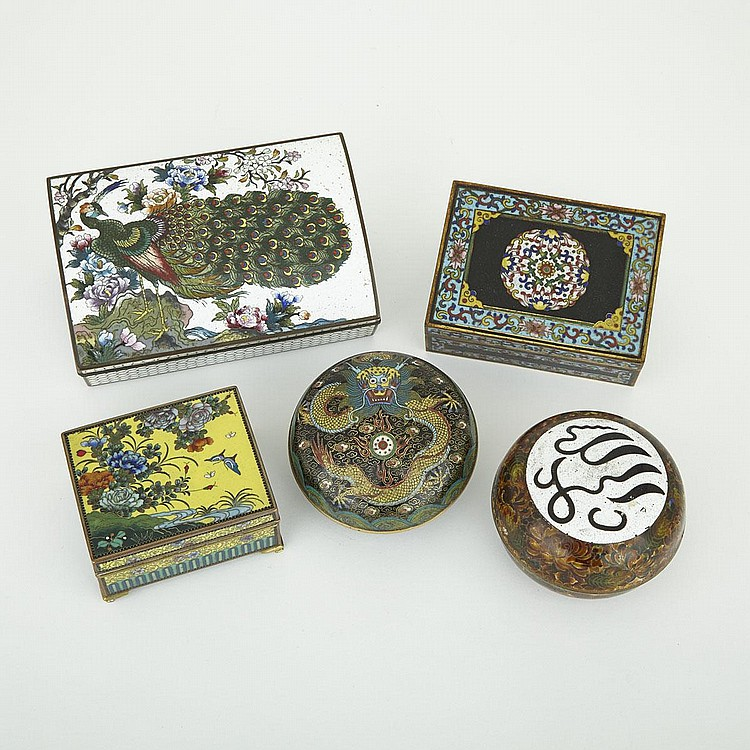 Group of Five Cloisonné Boxes, Early 20th Century, largest 2.2