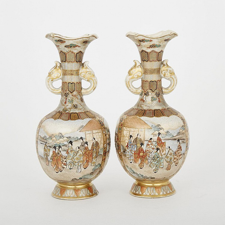 A Pair of Satsuma Vases, height 6.8