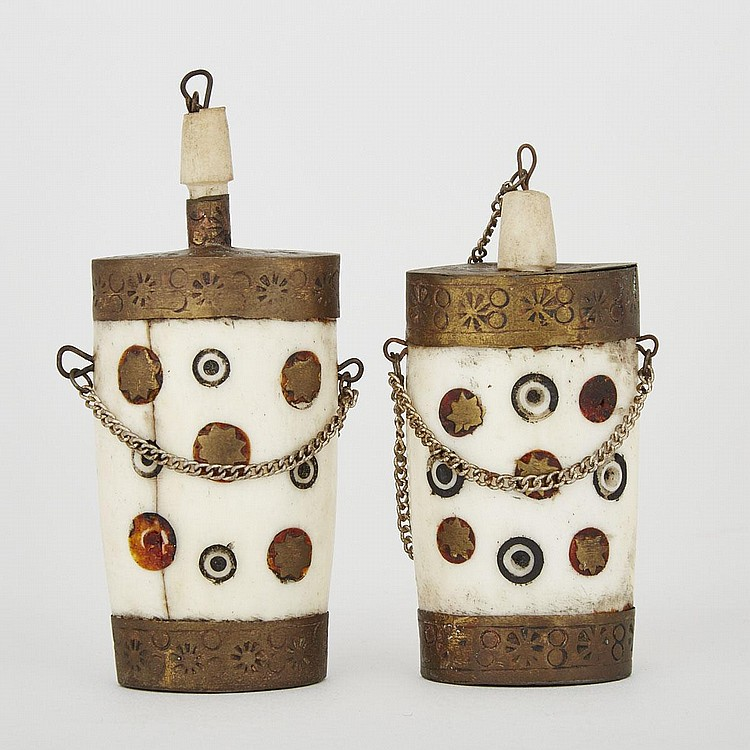 A Pair of Bone Snuff Bottles, India, 19th Century, 3.5