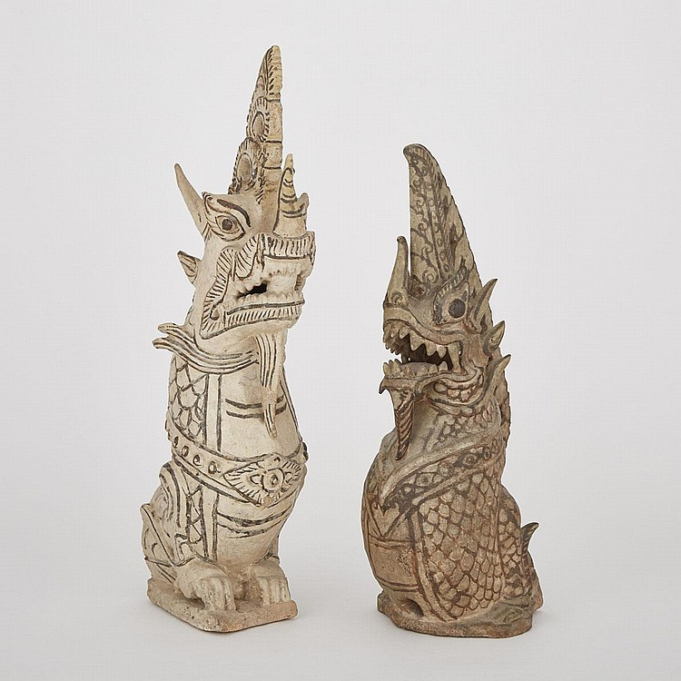 Two Sawankhalok Brown-and-Pearl Pottery Models of Mythical Serpent, Naga, 15th/16th Century, largest 20.9