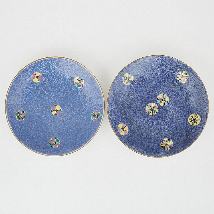 A Pair of Famille Rose Scraffiato Dishes, Qing Dynasty, Jiaqing Mark and Period (1796-1820), diameter 7.7