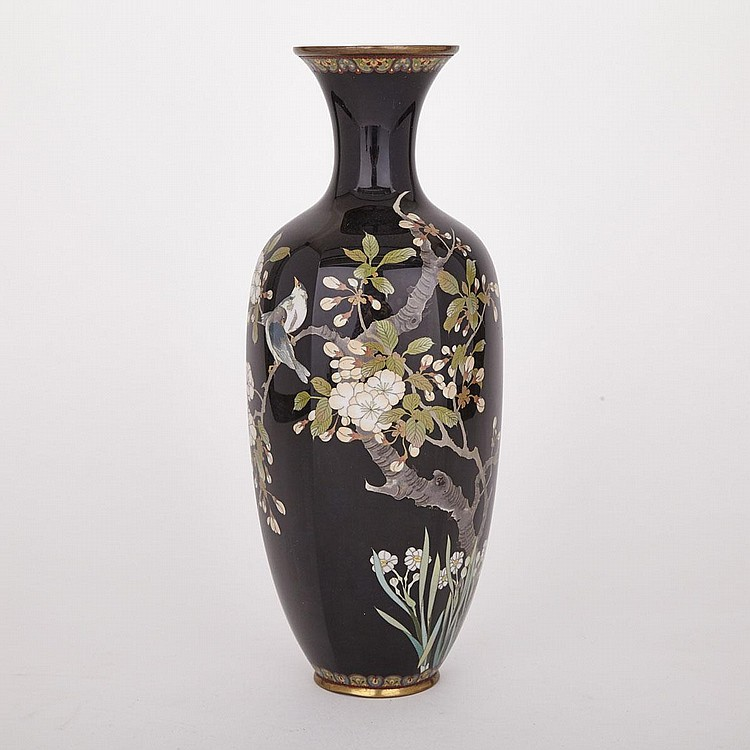 A Black-Ground Japanese Cloisonné Vase, 19th Century, height 14.4