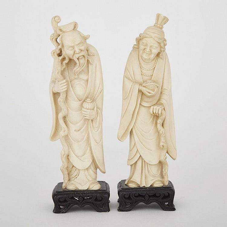 A Pair of Ivorine Figures, 10.2