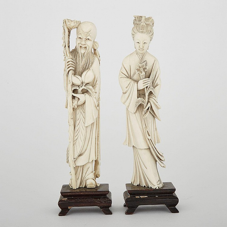A Pair of Carved Ivory Immortals, 8.1