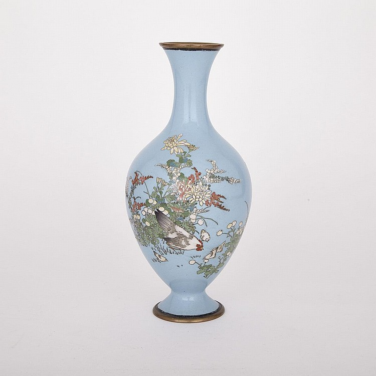 A Blue-Ground Japanese Cloisonné Vase, 19th Century, height 12.2