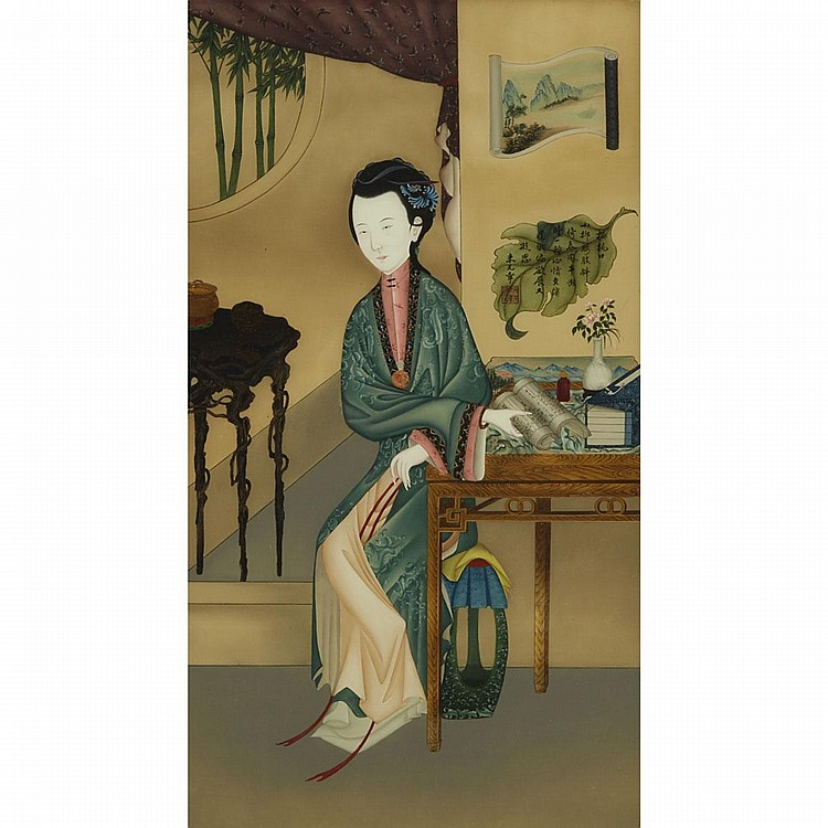 A Chinese Reverse Glass Painting of a Lady, Early 20th Century, 24.8