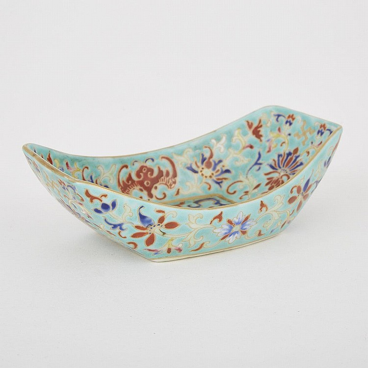 A Turquoise- Ground Famille Rose Teaboat, Jiaqing Mark, length 5.9
