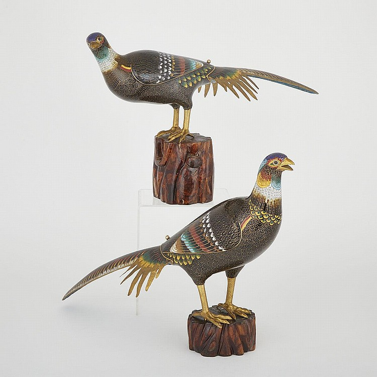 A Pair of Cloisonné Birds, Early 20th Century, largest overall length 28.7