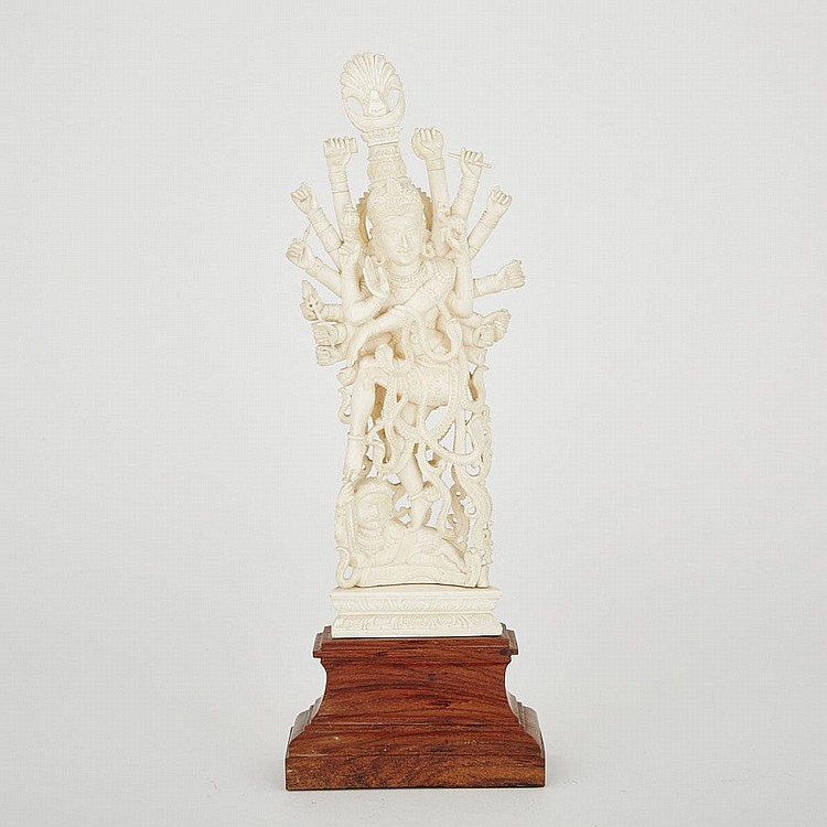A Carved Ivory Indian Deity, Circa 1940, 17.3
