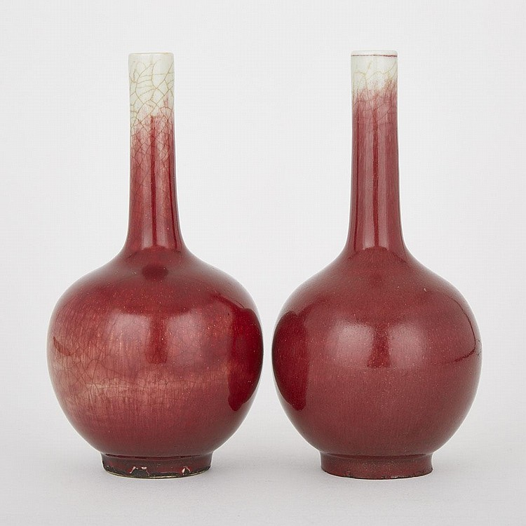 A Pair of Copper Red Flambé Vases, 19th Century, 8.7
