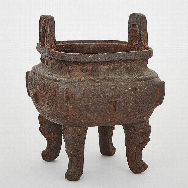 A Chinese 'Ding'- Type Iron Censer, Late Qing Dynasty, 10.2